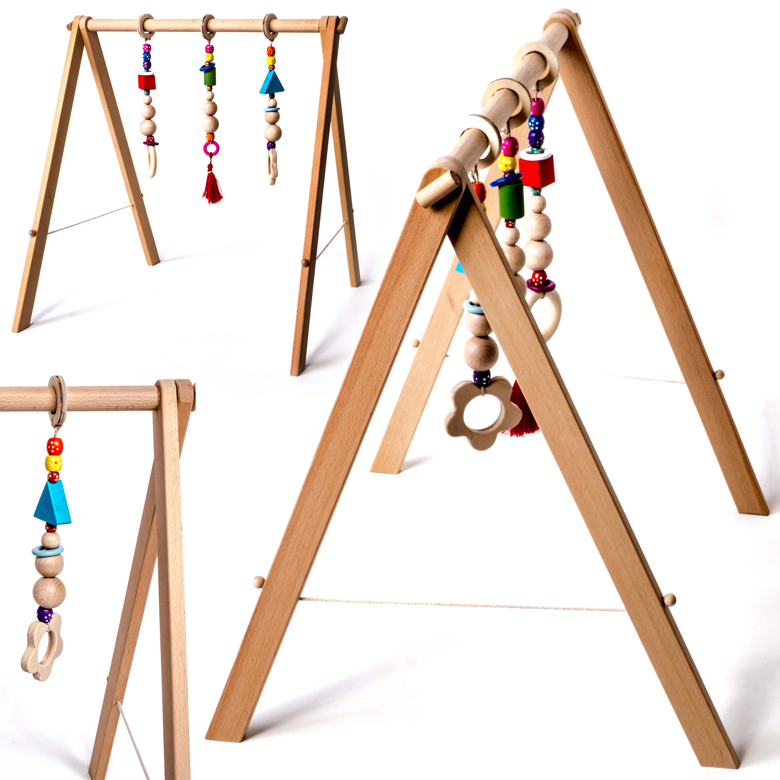 INGODI Wooden Mobile Baby Play Gym Toy Activity Set, Handmade Natural Wood Play Gym For Babies