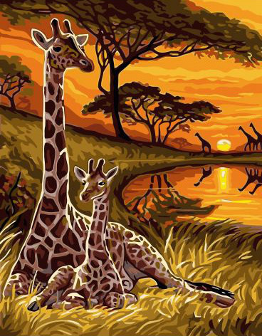 Painting By Numbers GX 32559 African Giraffes 40*50