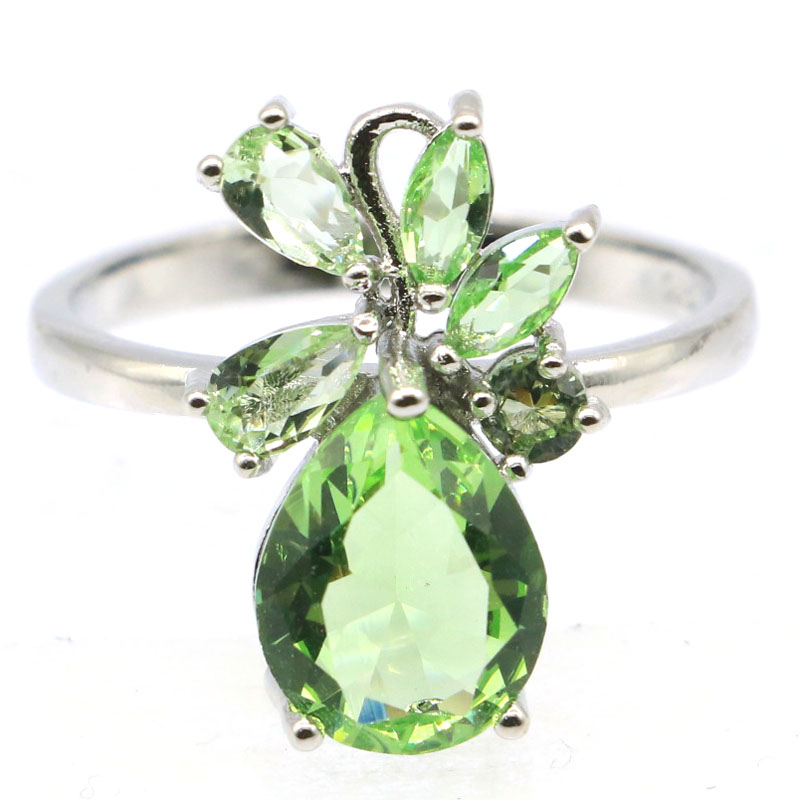 18x12mm SheCrown 2020 New Arrival Created Green Tsavorite Garnet Aquamarine Pink Kunzite Jewelry Making Silver Rings