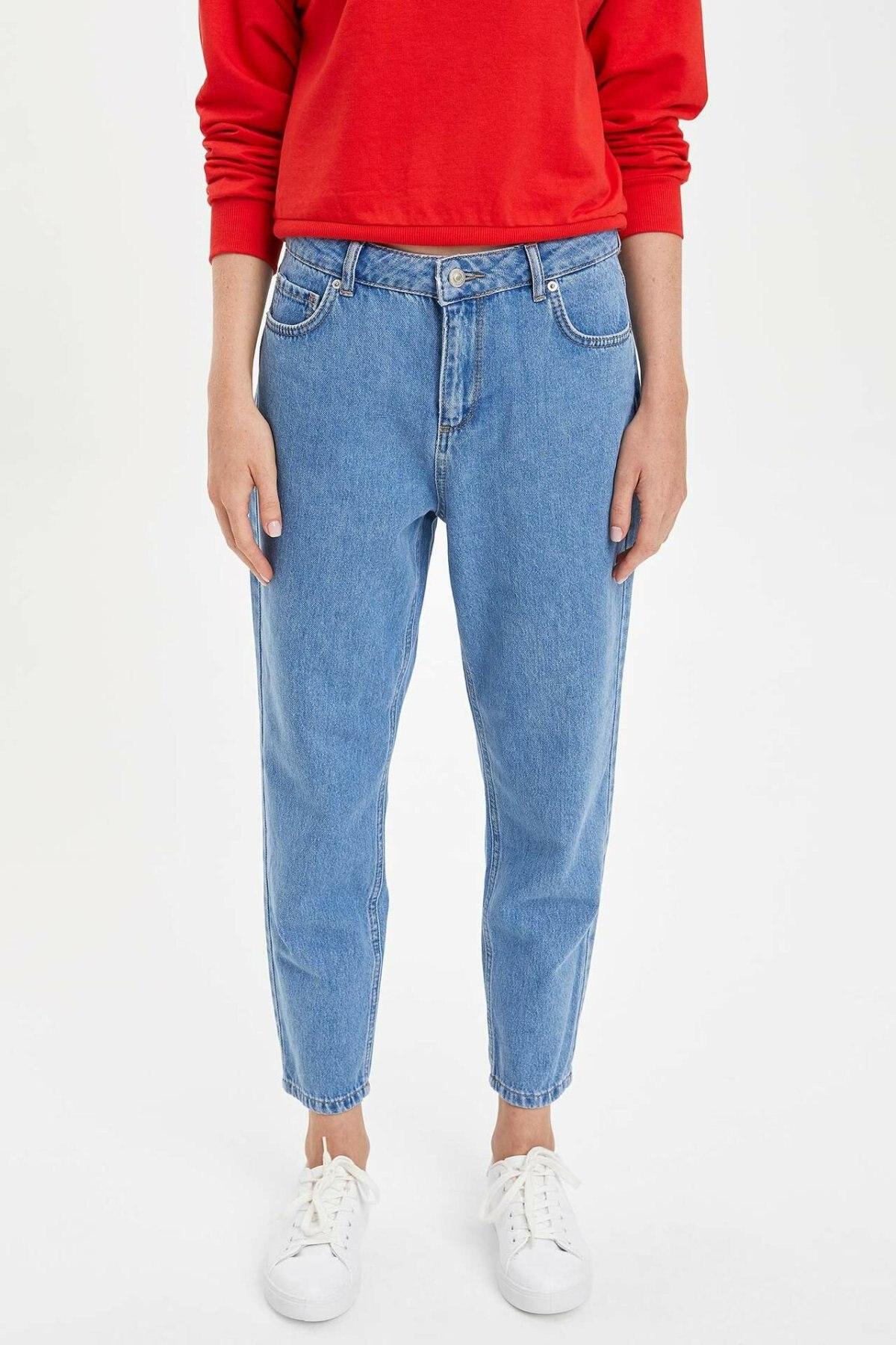 DeFacto Woman Fashion Trousers Female Denim Crops Loose Jeans High Quality Loose Pants Blue - K9063AZ19AU