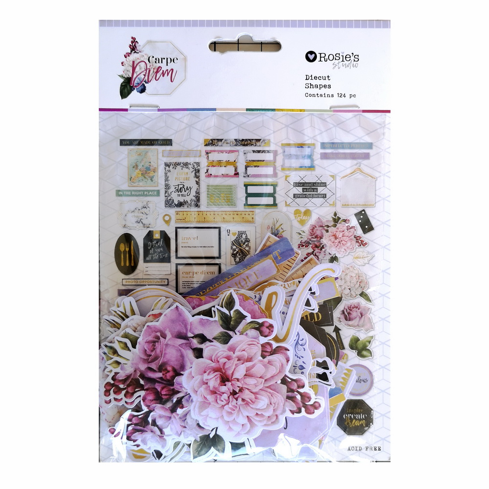 CRZCrafter 124pcs Printed Paper Diecut Shapes Foil Design Scrapbooking Cardmaking Journal Embellishments Decorations
