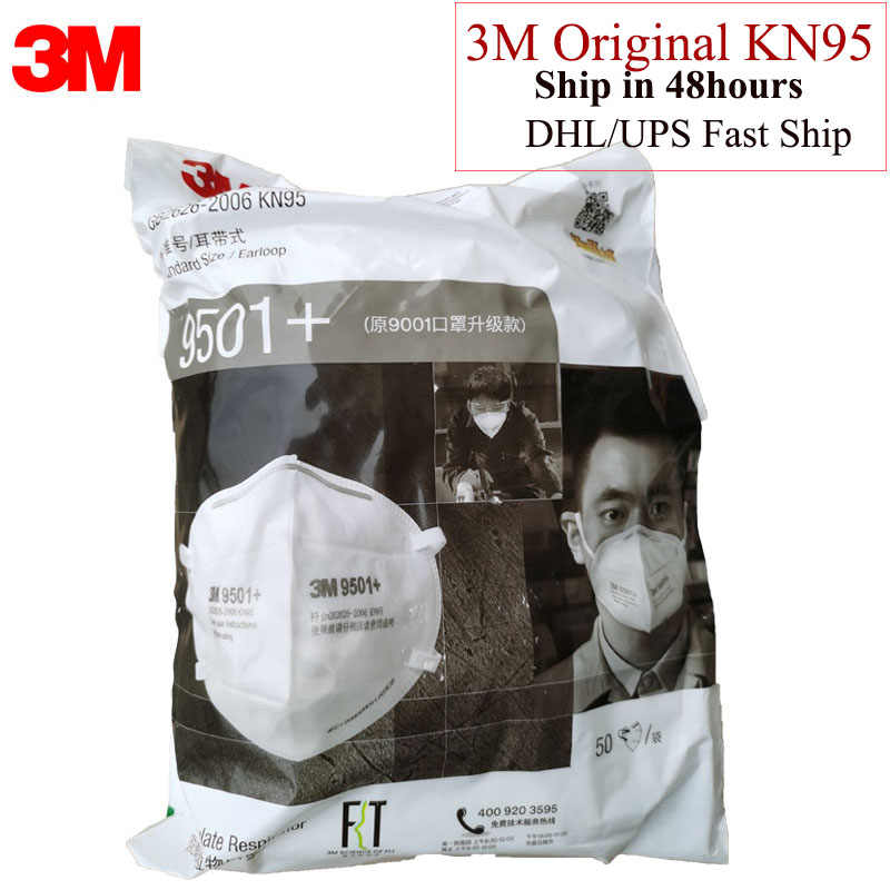 50pcs/Lot 3M 9501+ Mask Anti Dust Masks KN95 Masks Anti-haze Riding Protective Mask Anti-particles Filter Material H012912