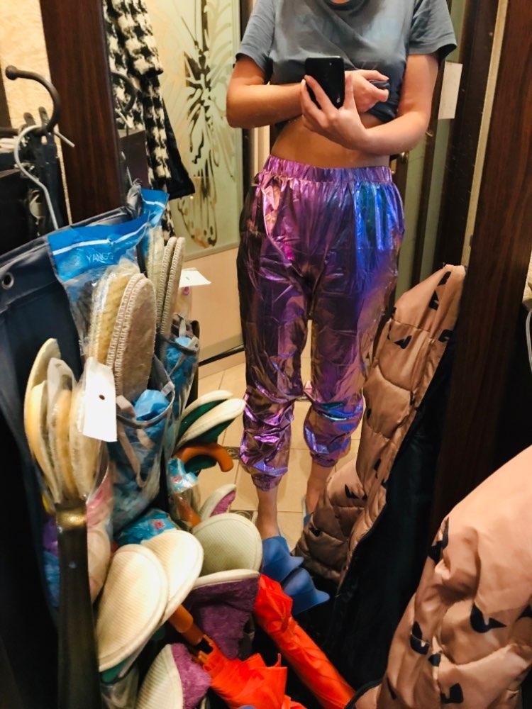 Darlingaga Hip Hop Holographic High Waist Pants Women Joggers Streetwear Dance Track Pants Trousers Elastic Summer Bottom photo review