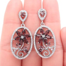 40x13mm Hot Sell Flower Created Purple Amethyst White CZ Womans Present Silver Earrings