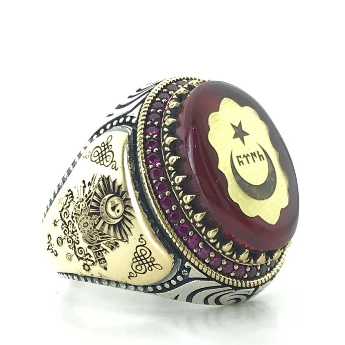 Amber and Ruby Stone Ottoman Tuğra Rigging Custom Silver Men 'S Ring()