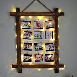 Legno naturale Coulisse illuminato Foto Gancio Pinze Stringa Collage Luce del Display led clip di foto di attaccatura di Parete Photo Frame TR67