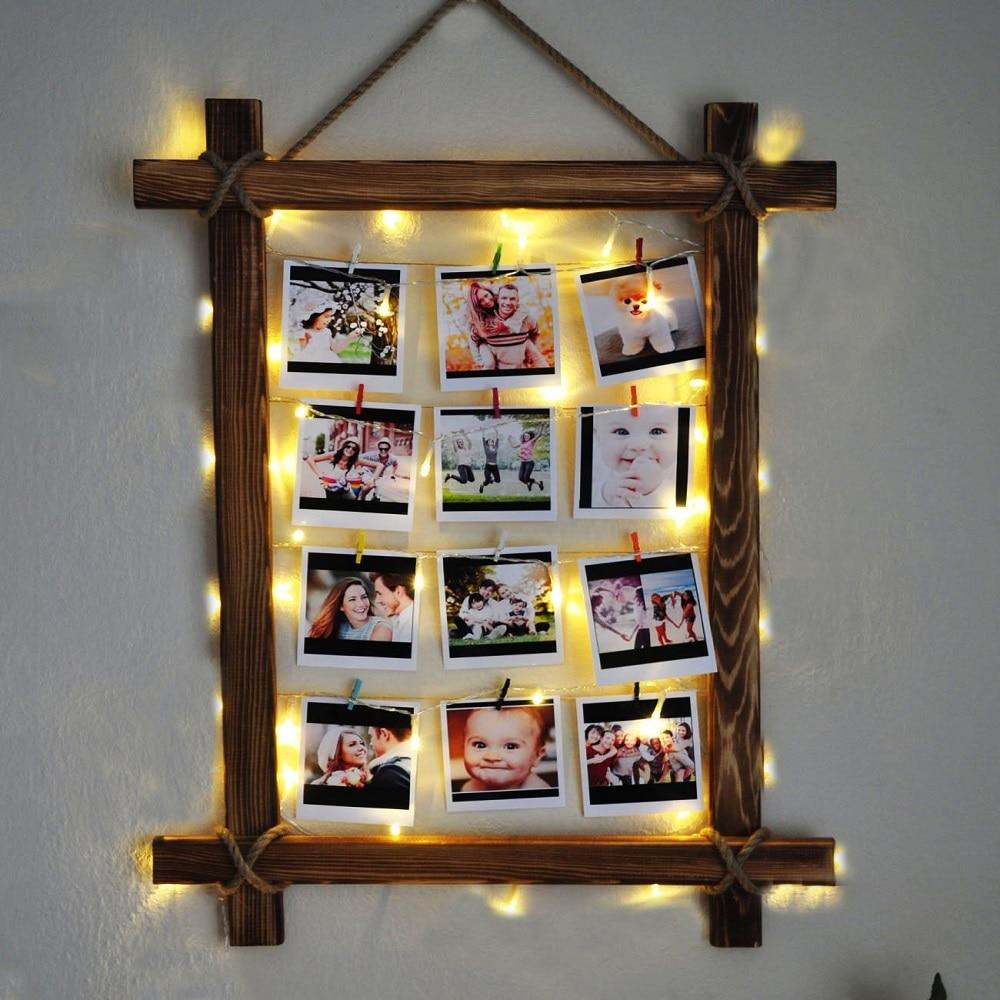 Natural Wood Drawstring Illuminated Photo Hanger Clips String Collage Display Light Led Clip Photo Hanging Wall Photo Frame TR67
