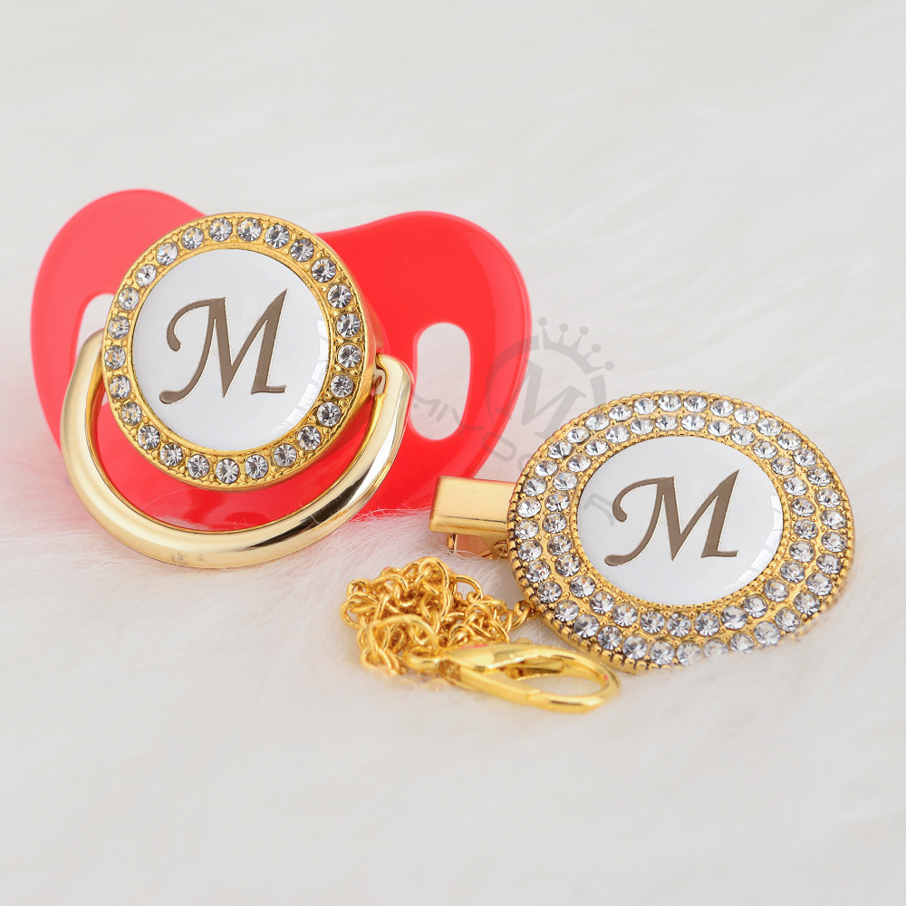 MIYOCAR Silver Name Bling Initial Letter M  Elegant Bling Pacifier And Pacifier Clip BPA Free Dummy Bling Babyshower Gift LM-W