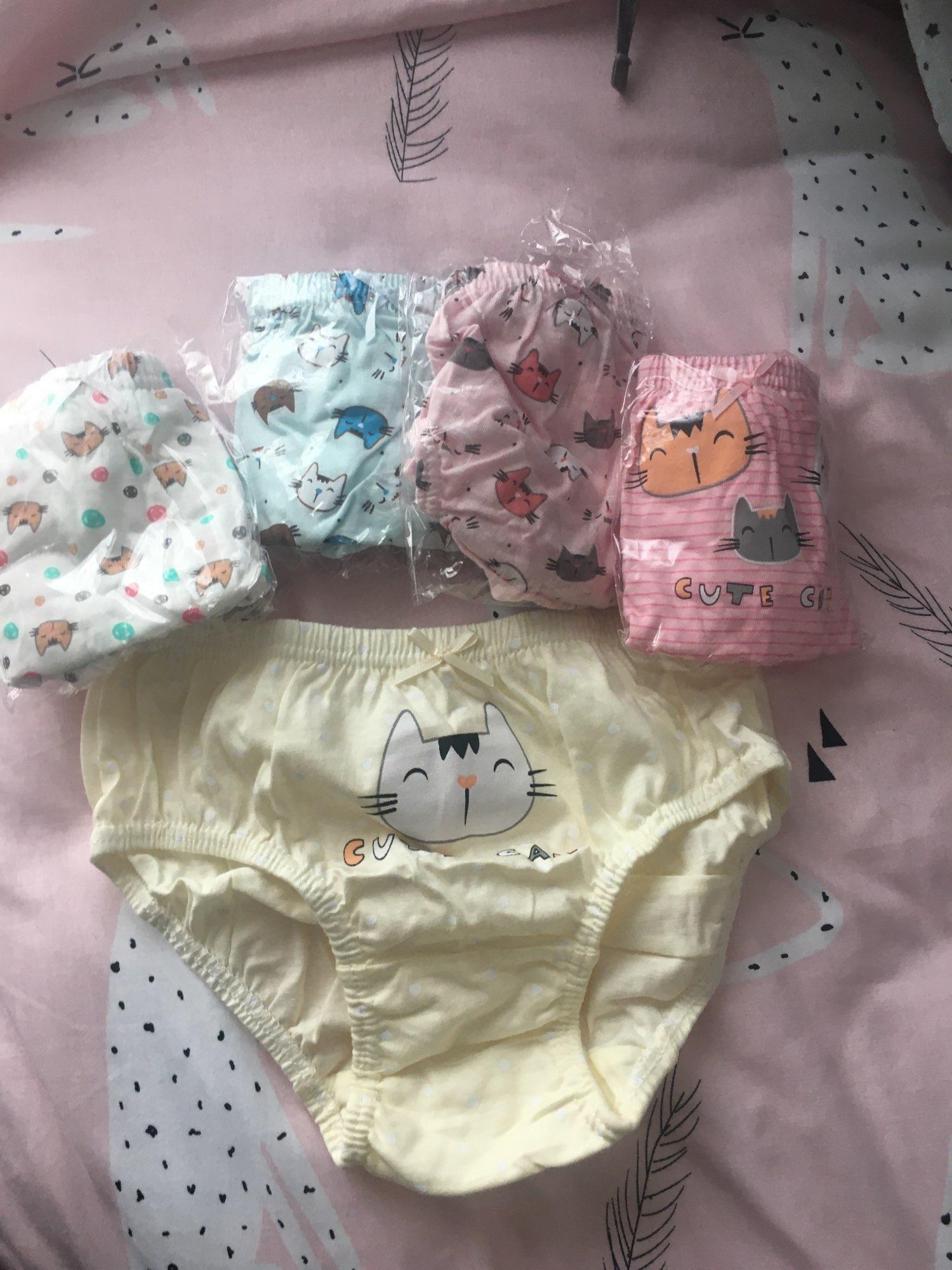 5 Pcs/Lot Pure Cotton Girls Panties Cute Cat Cartoon Girls Underwear 1-14 Yrs Kids Underpants Female Child Panty Children Briefs photo review