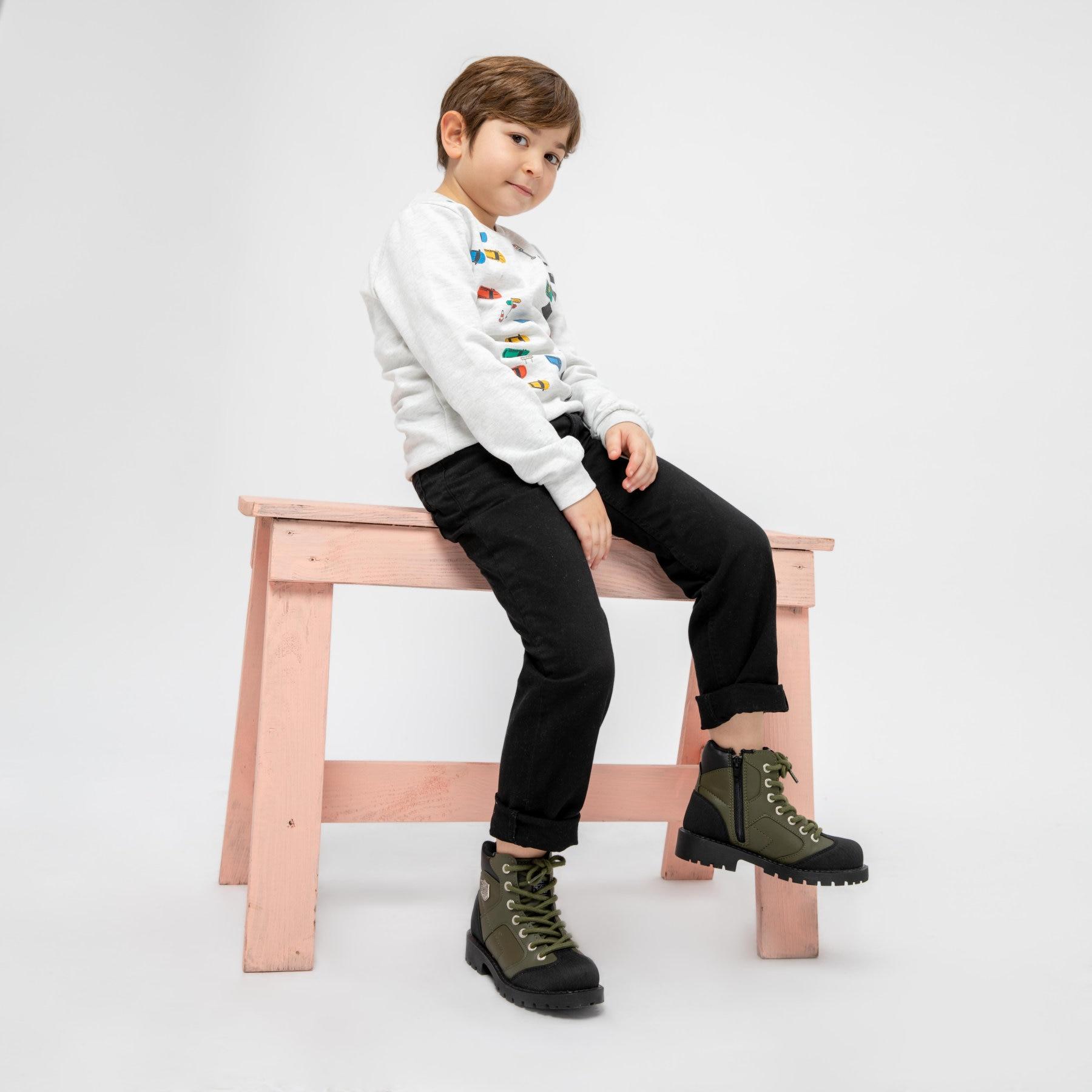 FLO NATE 9PR Khaki Male Child Boots KINETIX