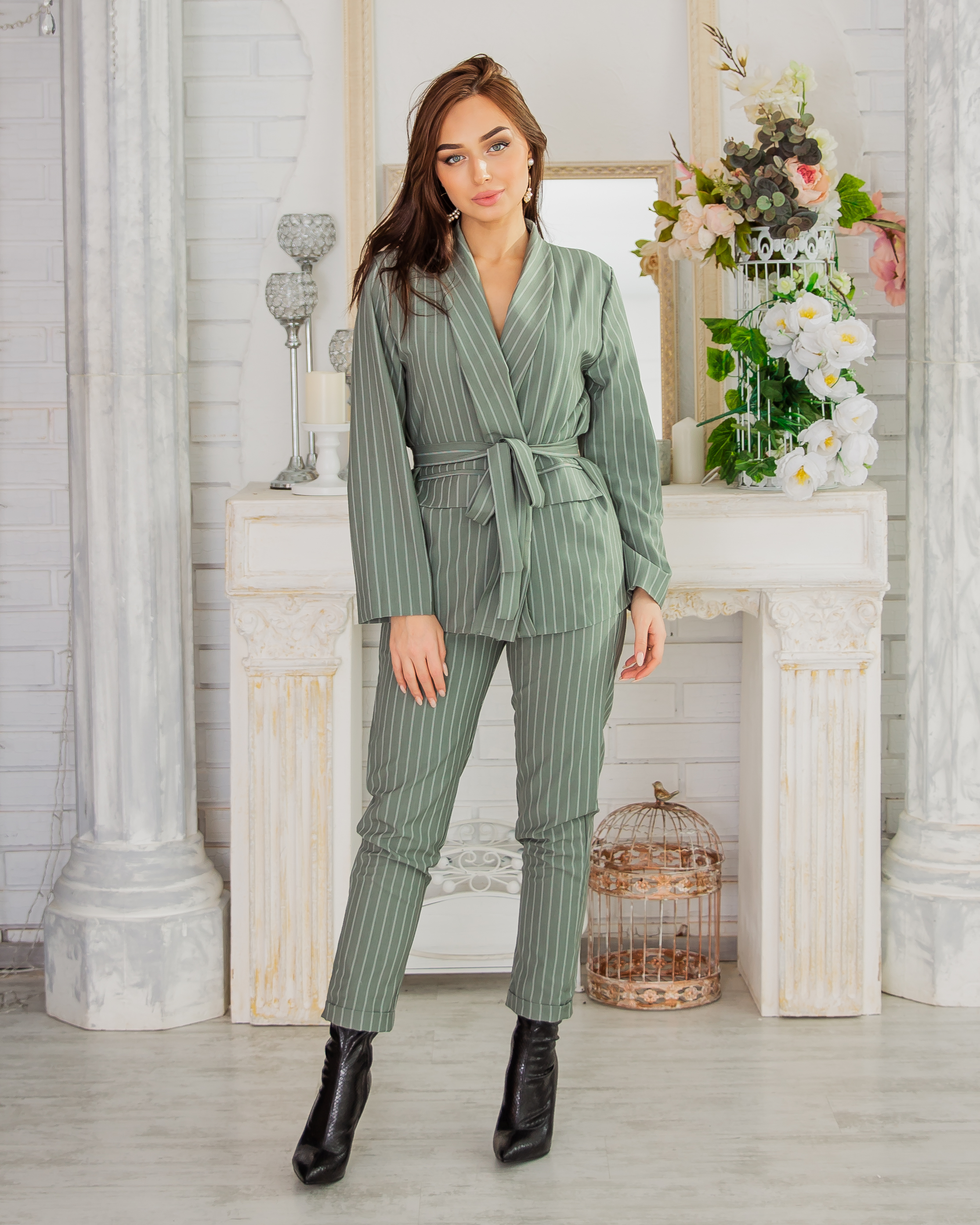 Women Striped Suit Handsome Casual Autumn Winter Российское Production Shipping From Russia Emberens