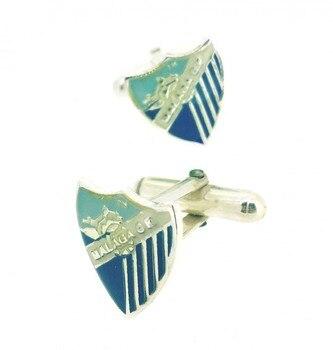 Gemelolandia Cufflinks for Shirt Sterling Silver and Enamel Malaga C. F Official Product Málaga CF Silver Cufflinks