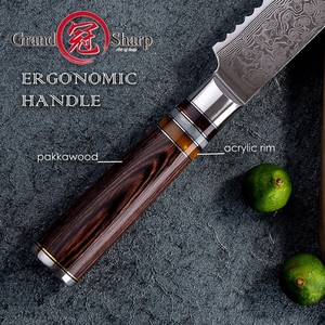 Image 5 - דמשק מטבח סכיני vg10 יפני דמשק פלדה לחם סכין עוגת חיתוך מאפיית כלים משונן נירוסטה דמשק להב חדש