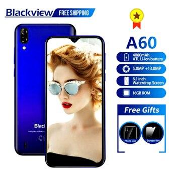 Перейти на Алиэкспресс и купить Мобильный телефон Blackview A60, четырёхъядерный, на базе Android 8.1, 4080 мАч, 1 ГБ+16 ГБ, экран 6,1 дюйма 19.2:9, двойная камера, 3G смартфон