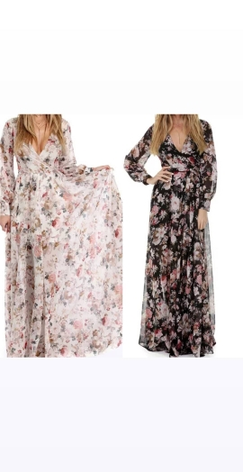 Women's Printing Dress Elegant V Neck Floral Maxi Long Dress Party Dress for Female Hot Sale Women Fashion Long Sleeves photo review