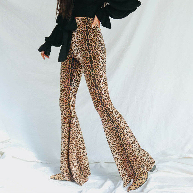 Женские расклешенные брюки с леопардовым принтом, длинные брюки с высокой талией, эластичные брюки с широкими штанинами, 2020