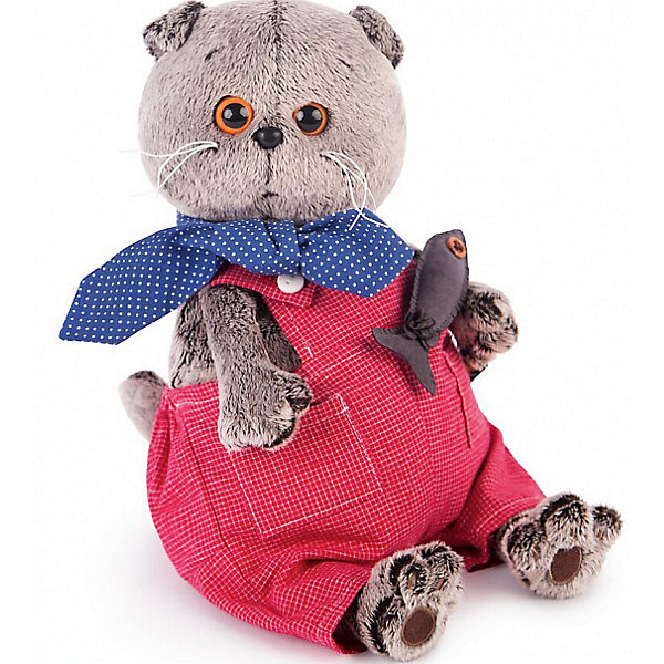 Soft Toy Budi Basa Cat Bass In Red Overalls 22 Cm