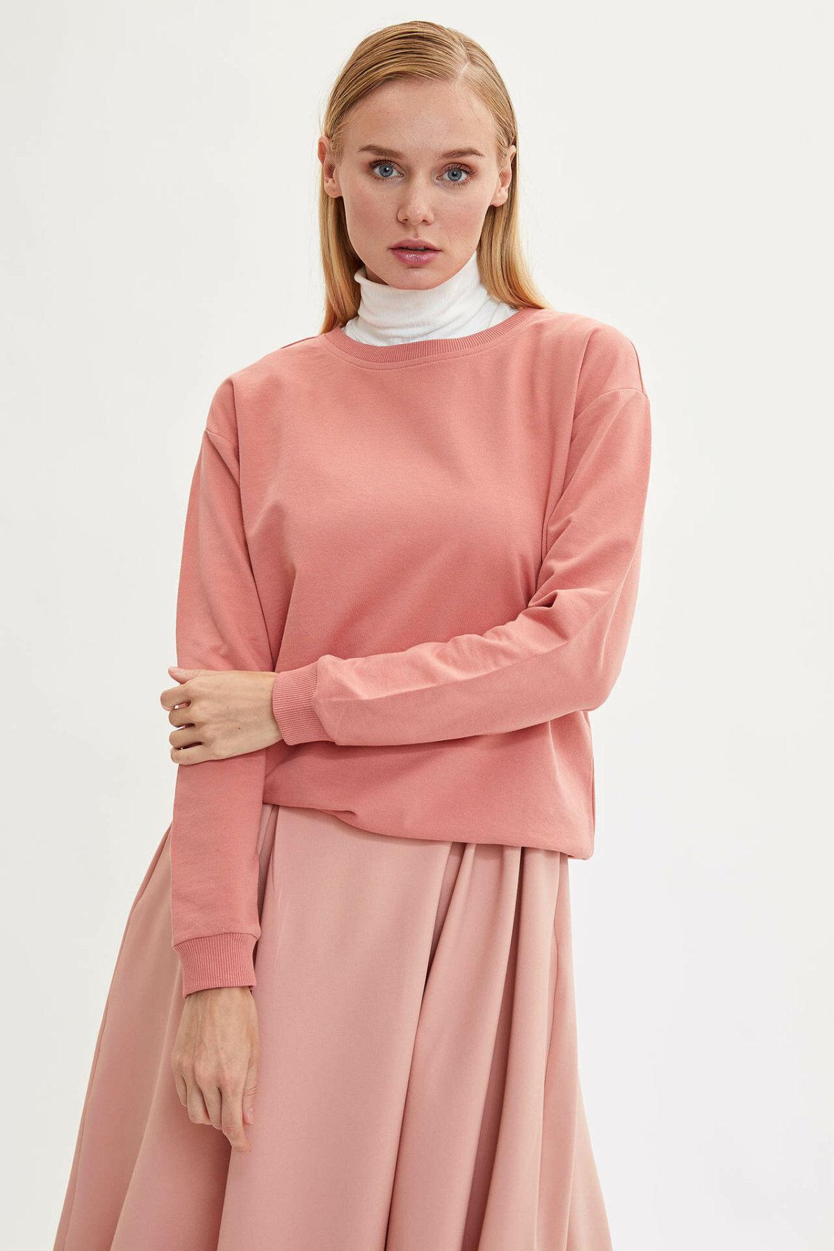 DeFacto Women Pure White O-neck Leisure Long Sleeve Women Pullover Casual Cotton Fashion Ladies Sweatshirts-M0021AZ19AU-M0021AZ19AU