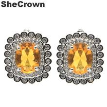 18x15mm 2019 New Arrival Created Golden Citrine Natural CZ Gift For Sister Silver Stud Earrings