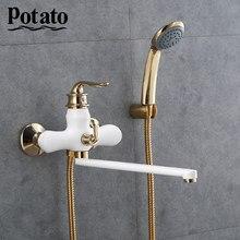 Хромированный смеситель для ванной комнаты,смеситель для ванны кран для горячей и холодной воды из АБС-пластика, 3 цвета, p22219-
