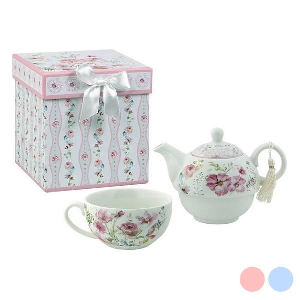 Toy Tea Set 116144 Flowers White Pink
