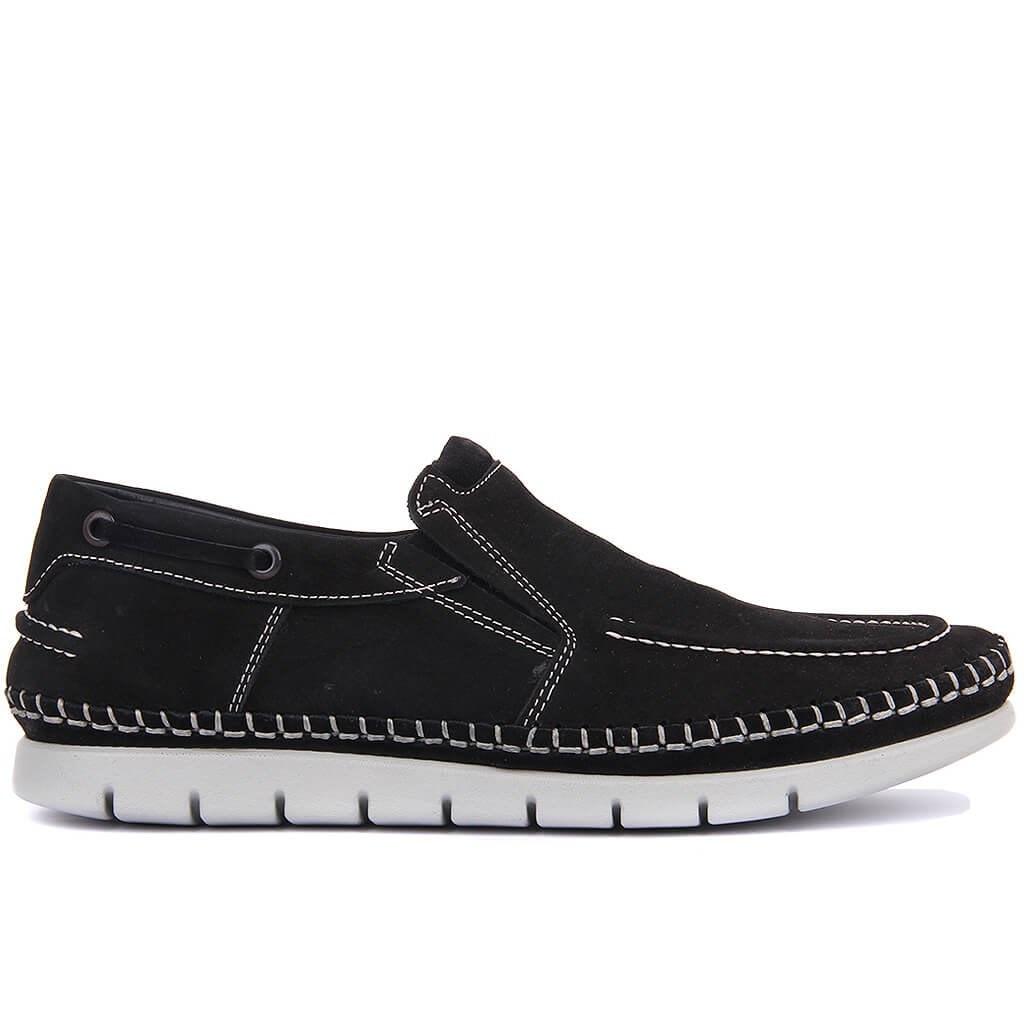 Sail-Lakers Black Nubuck Leather Male Shoes