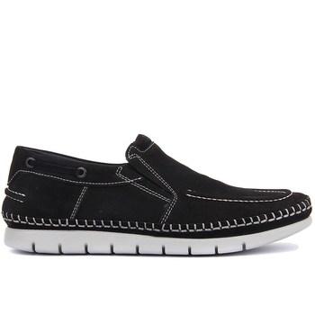 Sail-Lakers czarne nubukowe buty męskie tanie i dobre opinie Sail Lakers Prawdziwej skóry Slip-on