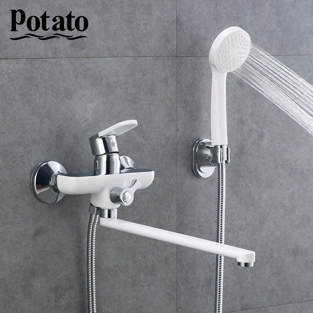 Potato Chrome Bathtub Faucet Outlet pipe Bath Shower Faucet Set Zinc Alloy Body Shower Head Bathroom Tap p22223-