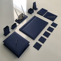 LUXURY Navy Blue Office Desk Leather Mat Set Organizer Accessories (Office Supplies, Office Desktop Set, Desk Organizer,)