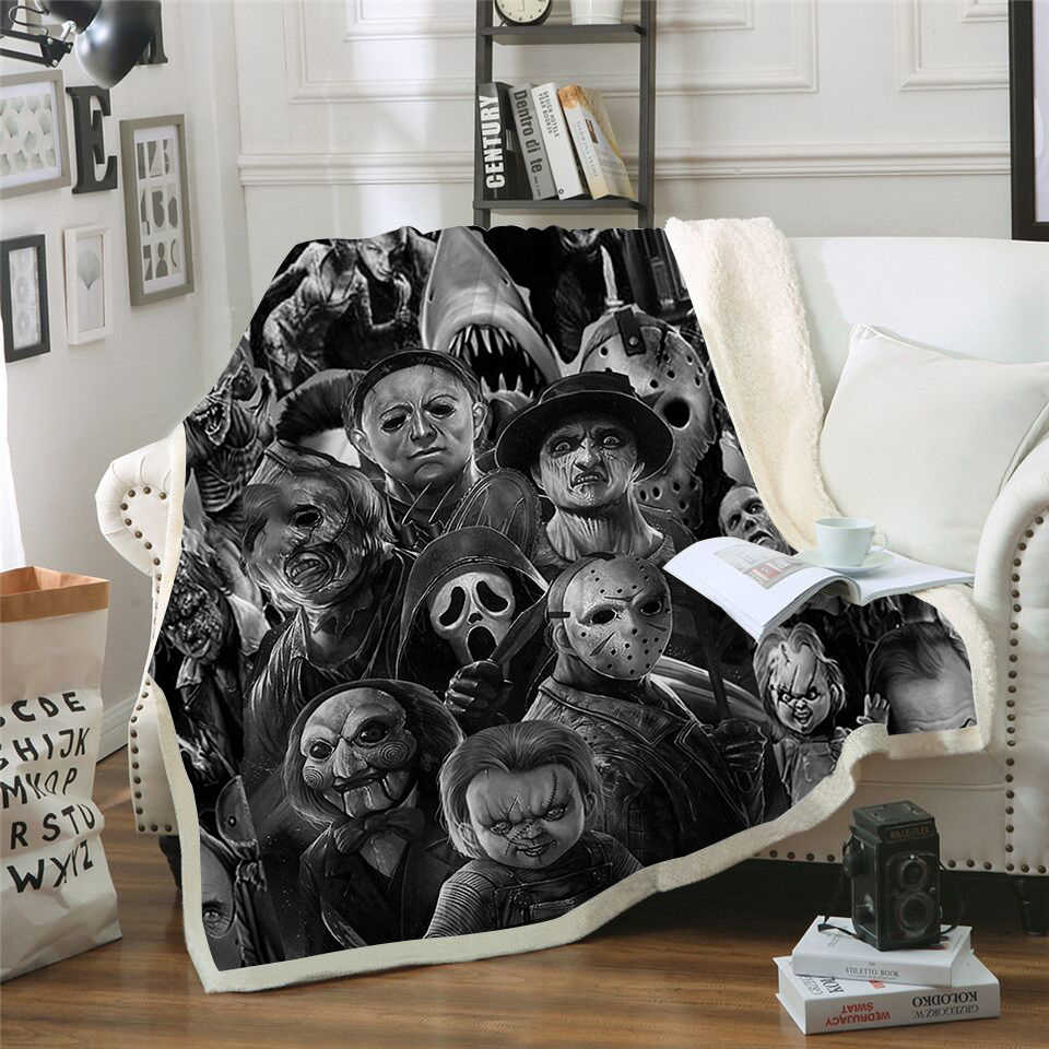 Horror Character Printed Warm Plush Throw Blanket Sherpa Fleece Bedspread Sofa Blankets For Beds Square Picnic Soft Blanket