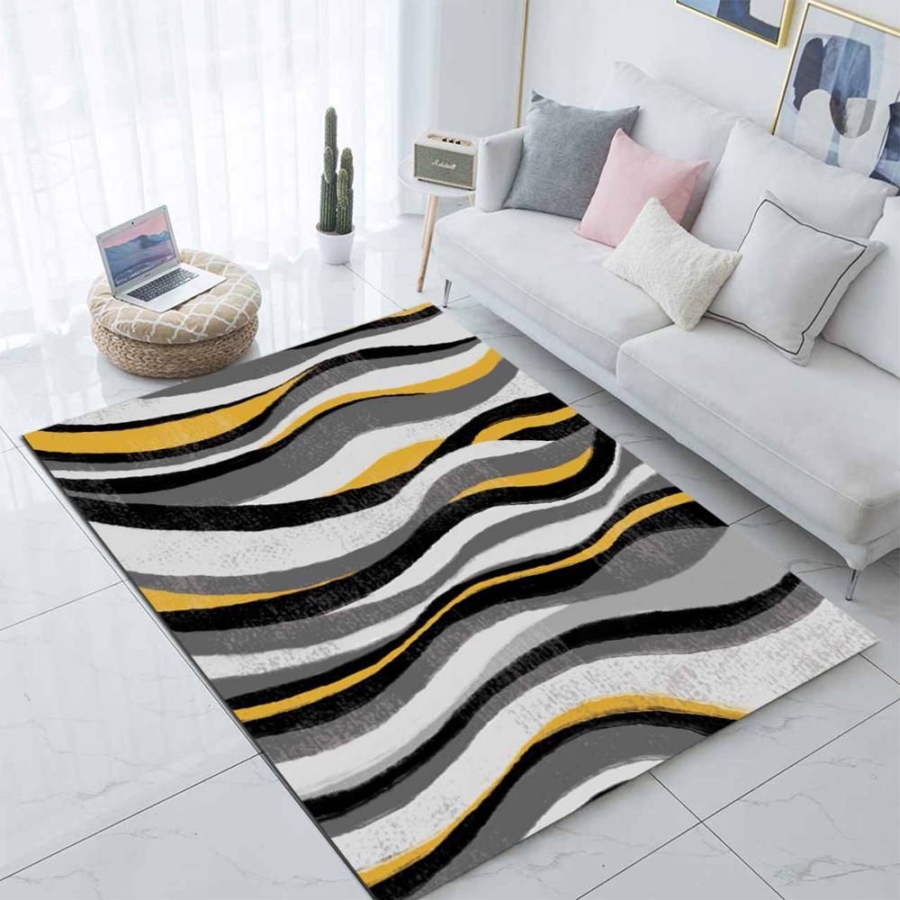 Else Gray Yellow Black Waves Stripes Lines Nordec 3d Print Non Slip Microfiber Living Room Modern Carpet Washable Area Rug Mat