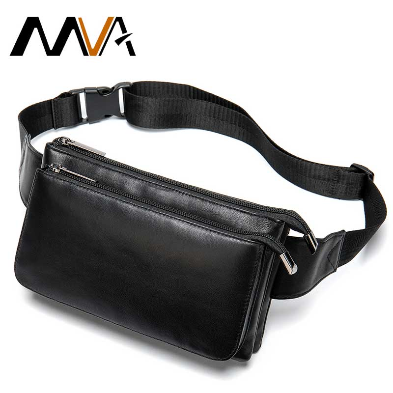 MVA Sheep Genuine Leather Waist Packs Fanny Pack Belt Bag Phone Pouch Bags Travel Waist Pack Male Small Waist Bag Leather Pouch