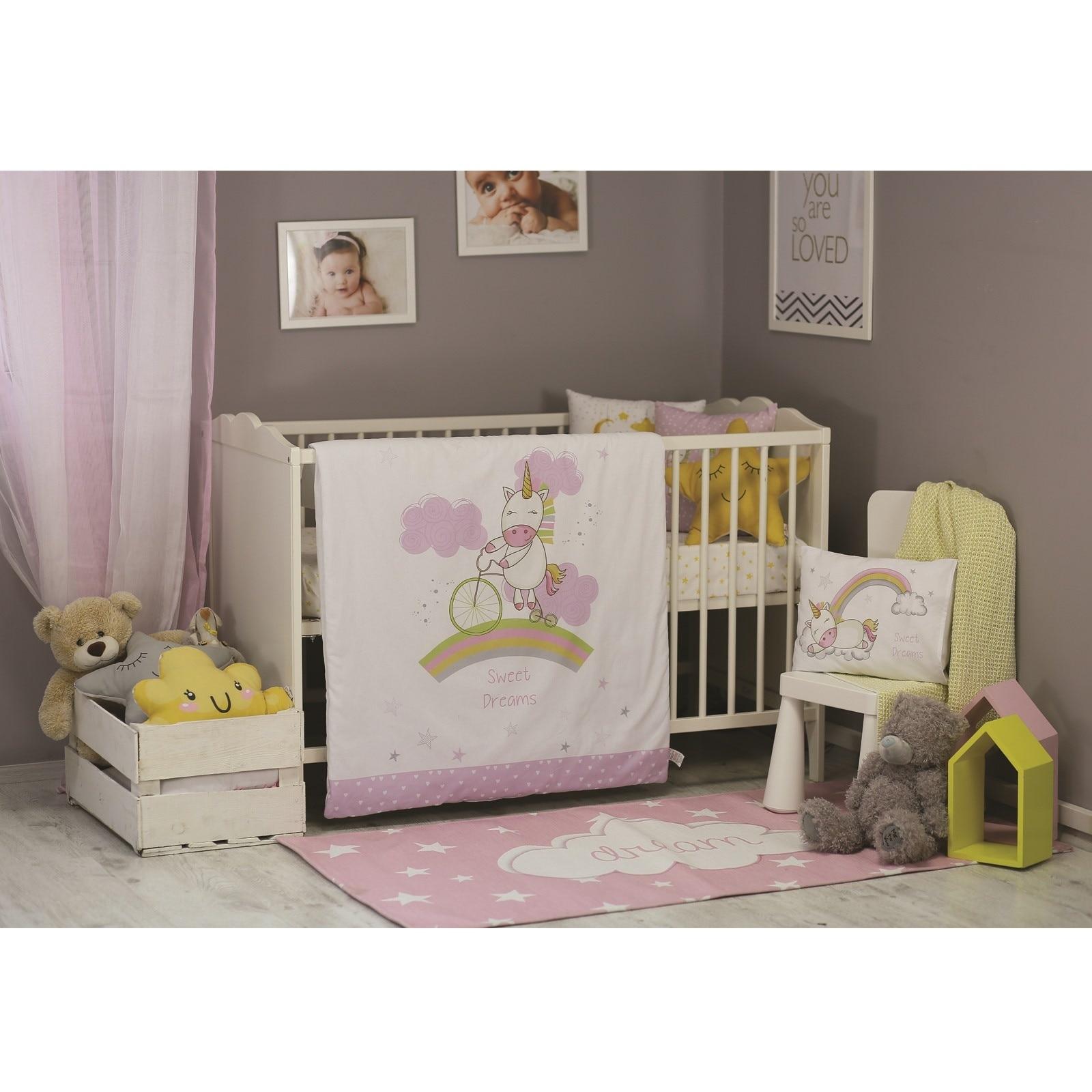 Ebebek Apolena Baby Unicorn Travel Cot Bed Sleep Cover 5 Pcs Set