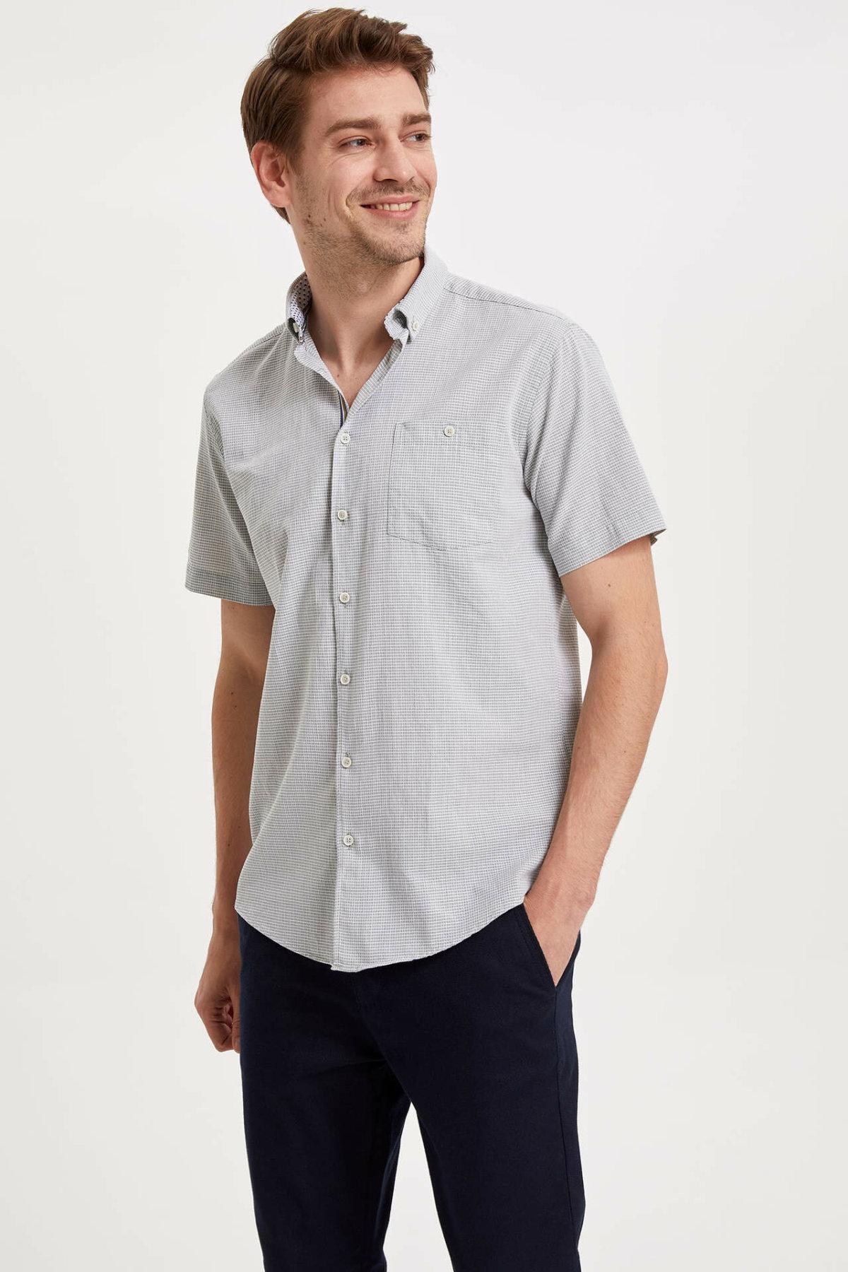DeFacto Men Simple Solid Shirts Short Sleeve Casual Shirts Men Fashion Lapel Collar Shirt - K2947AZ19SMGN460-K2947AZ19SM