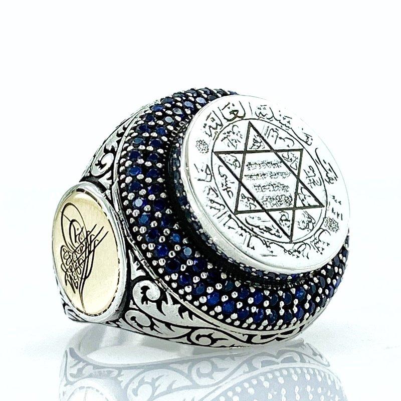 Star Of David Solomon Seal Custom Design Sterling Silver Men 'S Ring