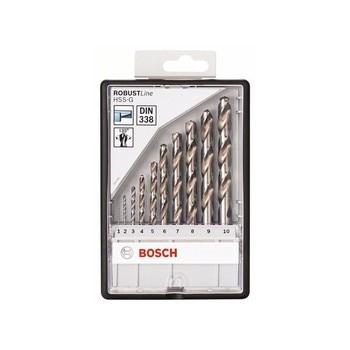 BOSCH-HSS-G DIN338: Robustline set 10 pcs: 1-10