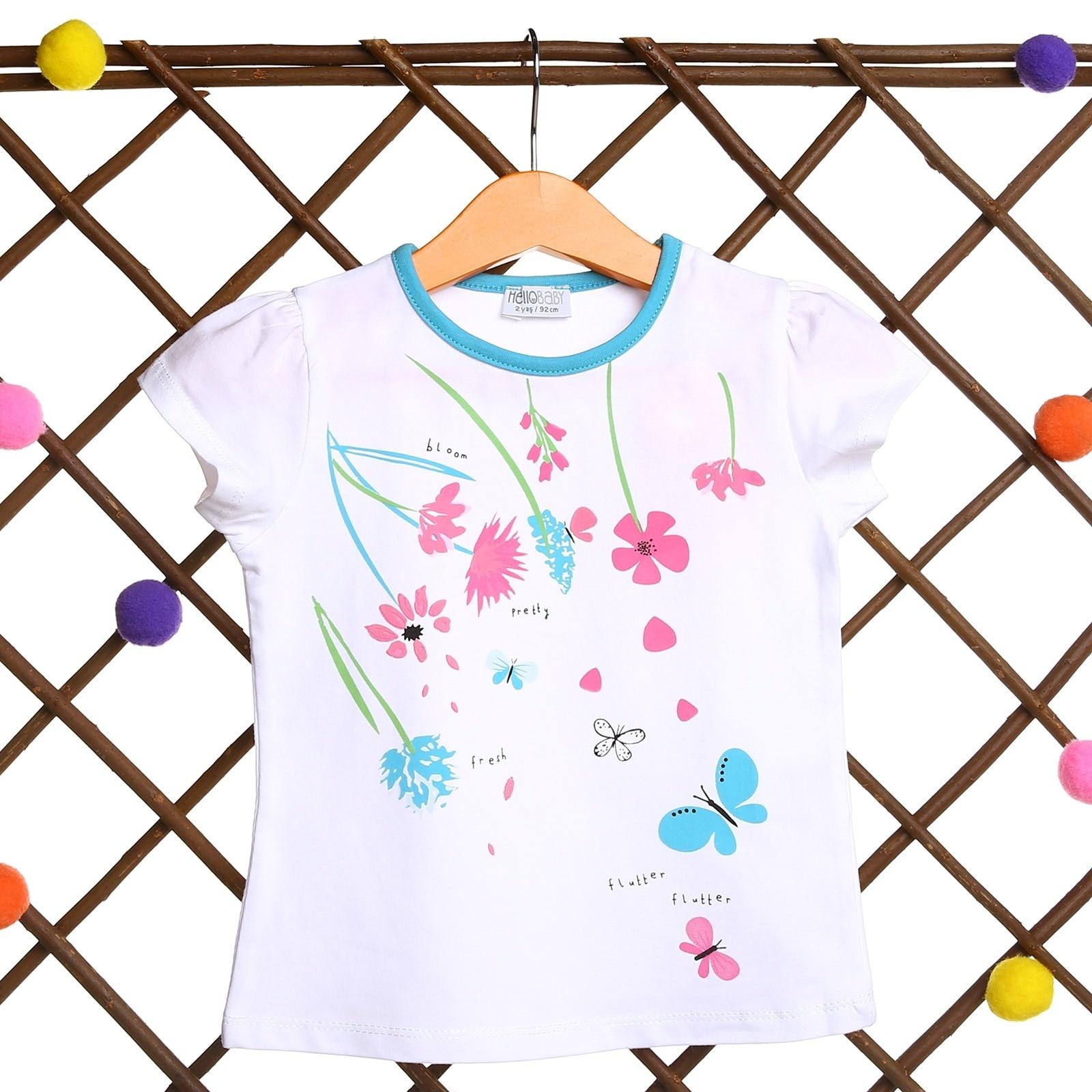 Ebebek HelloBaby Flowered Baby Girl Short Sleeve Tshirt