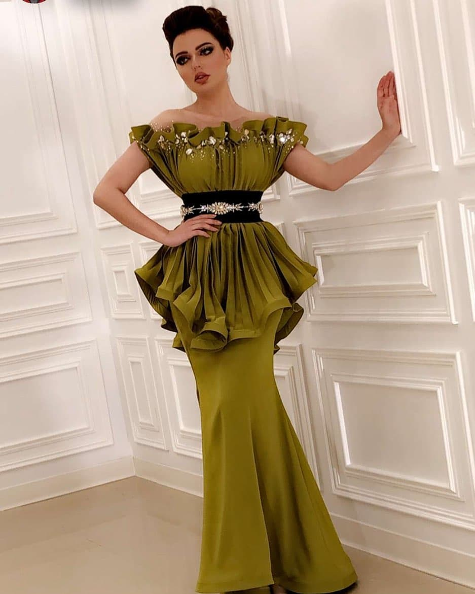 Dubai Off Shoulder Mermaid Prom Dress Ruffles Satin Formal Evening Dresses Long Plus Size Specia; Occasion Party Gowns