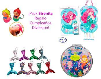 Piñata + 1 Espejo + 1 Llavero de Cola Sirena + 1 llave, Regalos Originales, lote de 4 Uds.