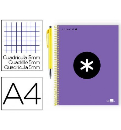 SPIRAL NOTEBOOK LEADERPAPER A4 MICRO ANTARTIK LINED TOP 120 H 100G TABLE 5 MM VIOLET COLOR PROMO CARAN D ACHE