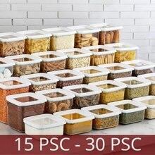 Boîte de rangement de haute qualité, 15 à 30 pièces, boîte de rangement pour ensemble alimentaire, organisateur de cuisine et de garde-manger, bouteille d'avoine, d'épices, de légumes, de Spaghetti, de riz et de céréales