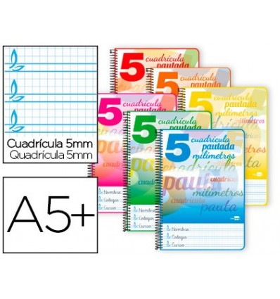 SPIRAL NOTEBOOK LEADERPAPER ROOM PAUTAGUIA SOFTCOVER 40H 80GSM BOX SCHEDULED 5MM ASSORTED COLORS 10 Pcs