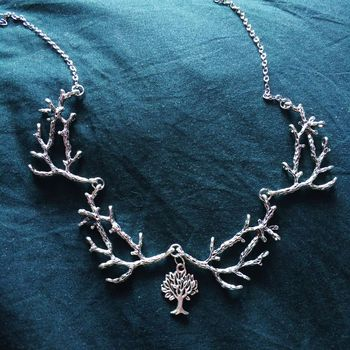 Silver Plated Antler Branch Necklace