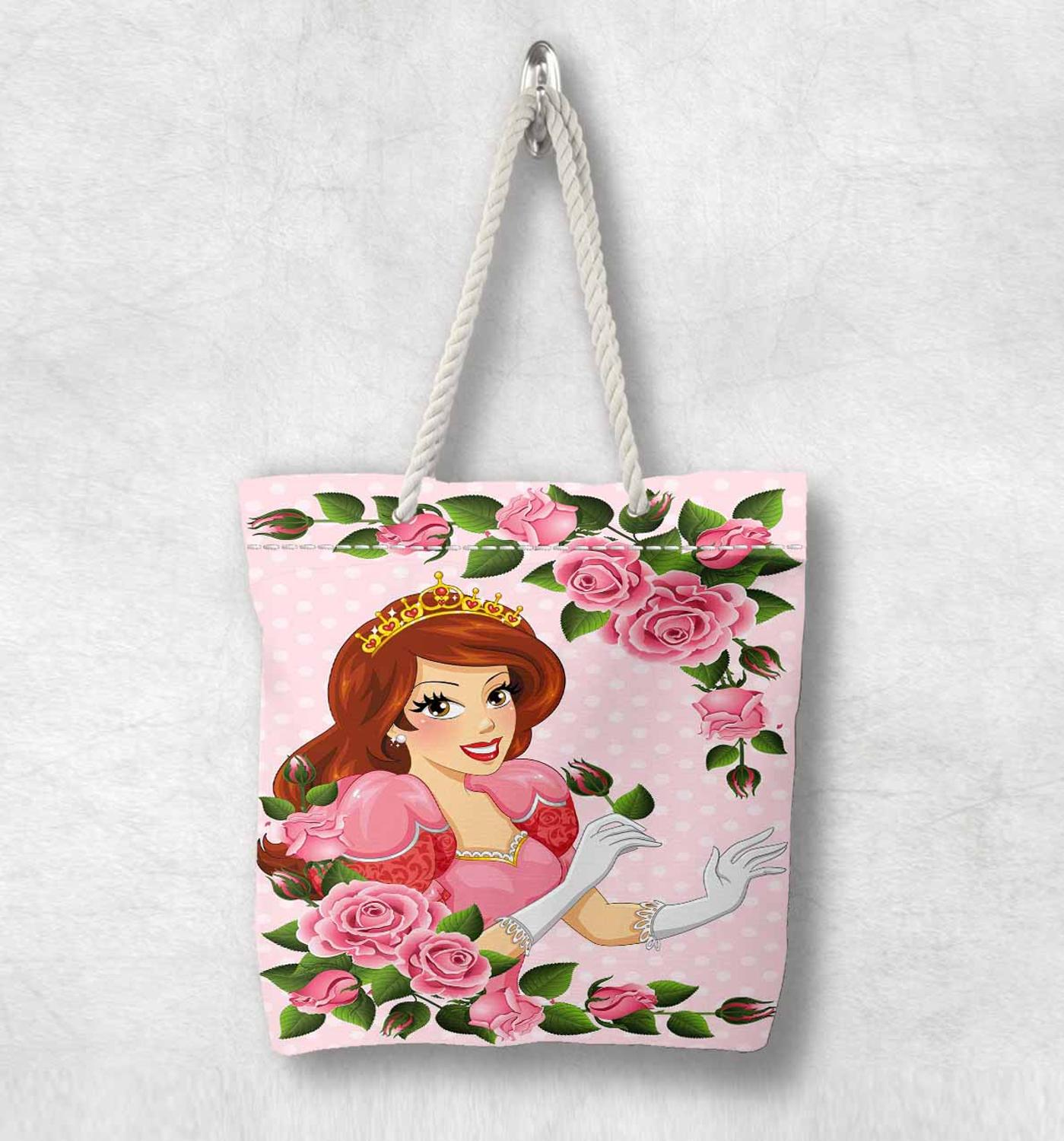Else Pink Roses Princess Flowers Floral Fashion White Rope Handle Canvas Bag  Cartoon Print Zippered Tote Bag Shoulder Bag