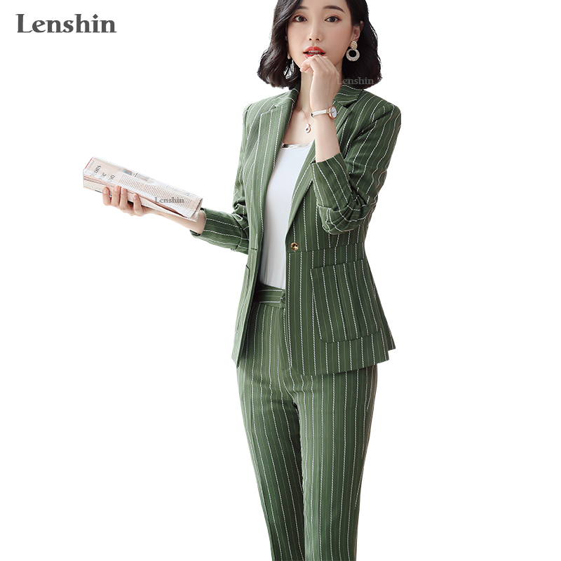 Lenshin High Quality 2 Piece Set Striped Formal Pant Suit With Big Pockets Blazer Office Lady Women Business Jacket And Pant