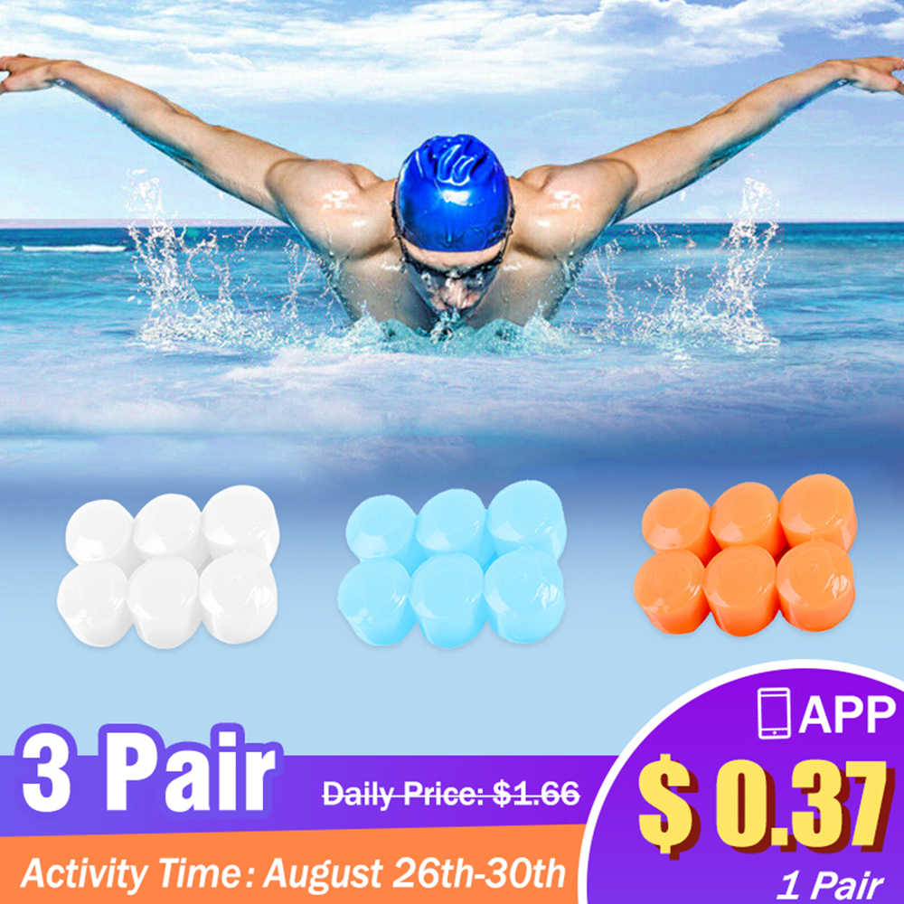 New Waterproof 6Pcs Silicone Soft Water Sports Earplugs Showering Protective Ear Plugs Swimming Earplugs Anti-noise Earmuffs