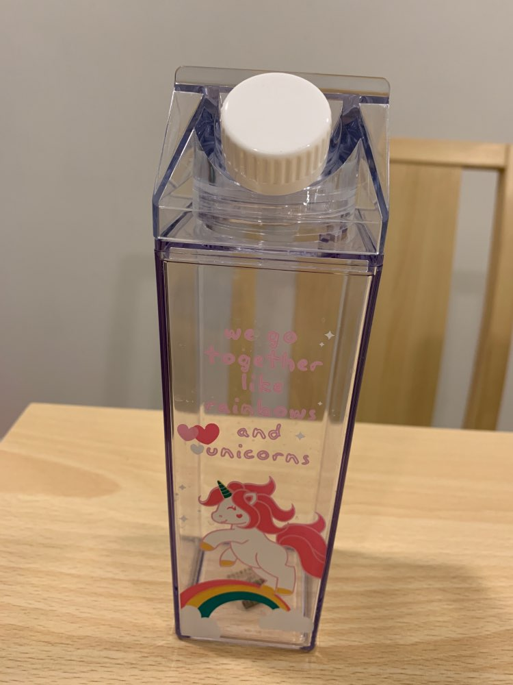 Cartoon Water Bottles Milk Box Shape Plastic Cups Students Cute Pink Panther Drink Bottle for Juice Coffee Tea Drinkware-in Water Bottles from Home & Garden on AliExpress