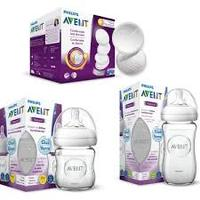 Philips Avent Natural Glass Feeding Bottle Set of 2 (240 ml + 120 ml) + 60 pcs Breast Pad