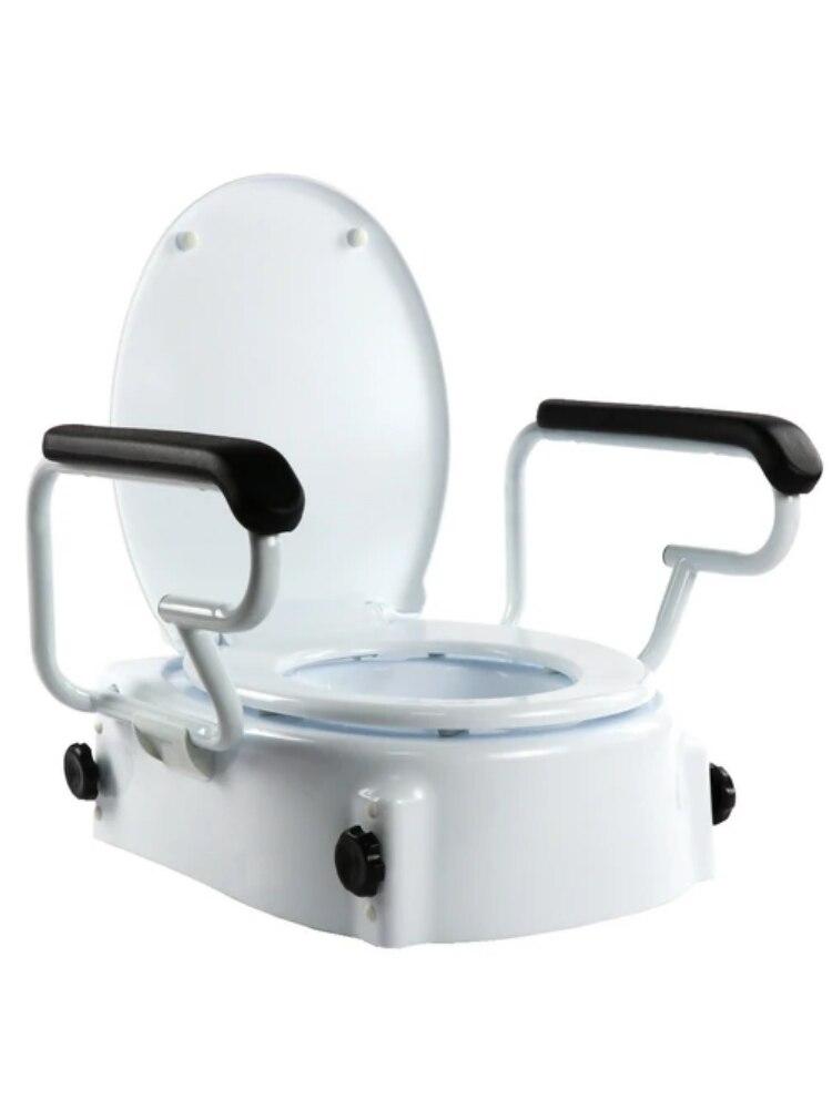 OrtoPrime, Elevador WC Inclinable con Reposabrazos Abatibles, Altura Regulable 5, 10 y 15 Centímetros, Con Tapa
