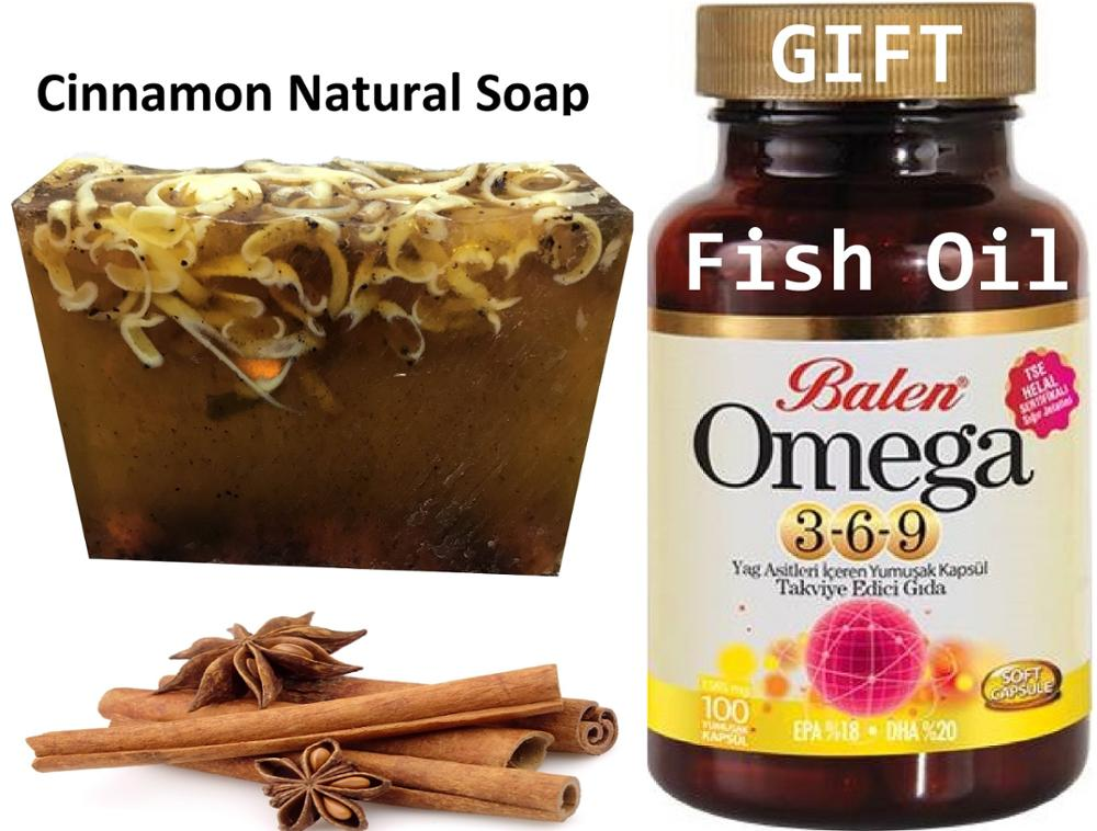 Anti Acne Cinnamon Natural Handmade Soaps 100 Gr+ Gift Omega 3,6,9 Fish Oil Soft 100 Capsule Reinforcing Containing Fatty Acids